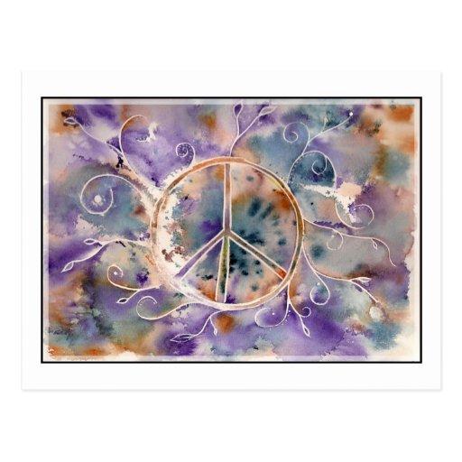 Watercolor Peace Sign Postcard
