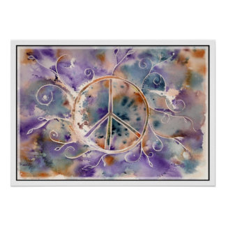 Watercolor Peace Sign Poster
