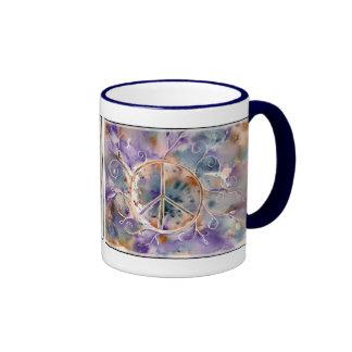 Watercolor Peace Sign Ringer Mug