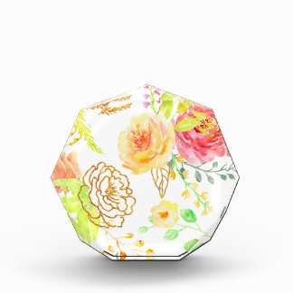 Watercolor peach and gold rose pattern award