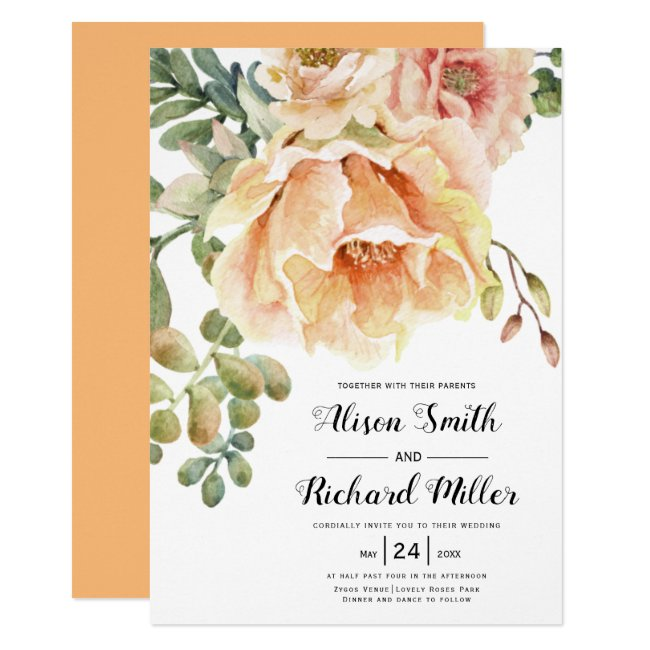 Watercolor peach coral flowers typography wedding invitation