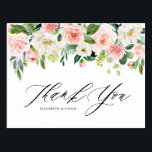 """Watercolor Peach Floral Garland Thank You Postcard<br><div class=""""desc"""">Feminine Watercolor Peach Floral Garland Thank You Flat Postcard. Feminine and romantic thank you card featuring watercolour peach and white flowers and greenery bouquets. This floral thank you card is perfect for special events like wedding and graduation and for personal use. Matching items are available.</div>"""