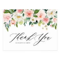 Watercolor Peach Floral Garland Thank You Postcard
