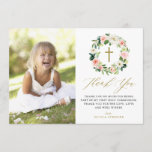 """Watercolor Peach Floral Wreath Communion Thank You<br><div class=""""desc"""">Watercolor Peach Florals Wreath Communion Thank You Card. Customizable thank you card featuring watercolor floral wreath or peach and ivory peonies with foliage accent. This floral photo thank you card will also be perfect for Baptism and Christening thank you card.</div>"""