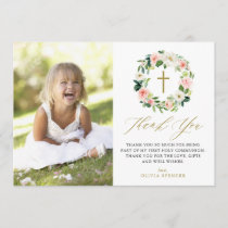 Watercolor Peach Floral Wreath Communion Thank You