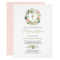 Watercolor Peach Floral Wreath Confirmation Card