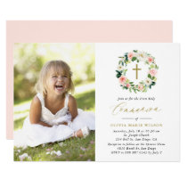 Watercolor Peach Floral Wreath Photo Communion Card