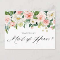 Watercolor Peach Florals Be My Maid of Honor Invitation Postcard