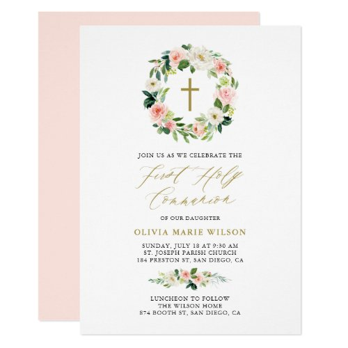 Watercolor Peach Florals First Holy Communion Invitation