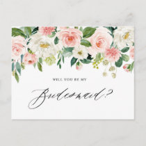 Watercolor Peach Florals Will You Be My Bridesmaid Invitation Postcard