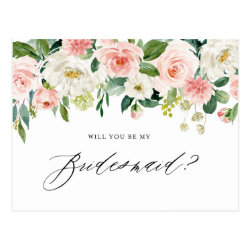 Watercolor Peach Florals Will You Be My Bridesmaid Postcard