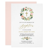 Watercolor Peach Flowers Floral Wreath Baptism Card