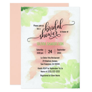 Watercolor Peach, Mint Green Wedding Bridal Shower Card
