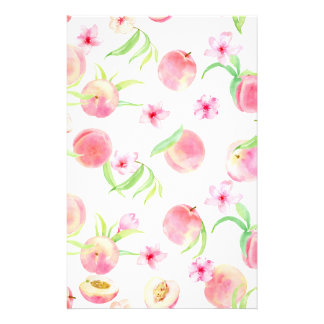 Watercolor peach pattern stationery