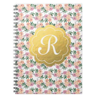 Watercolor peach&pink floral notebook