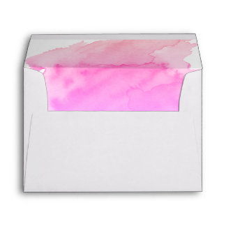 Watercolor Peach Pink Purple Return Address Envelope