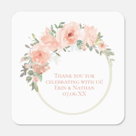 Watercolor Peach Roses Circle Frame Wedding Favors Hand Sanitizer Packet