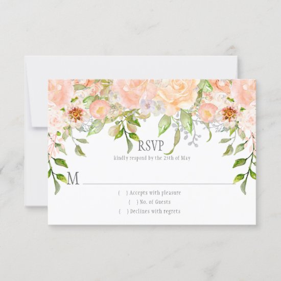 Watercolor Peach Roses Greenery | Dots Overlay RSVP Card