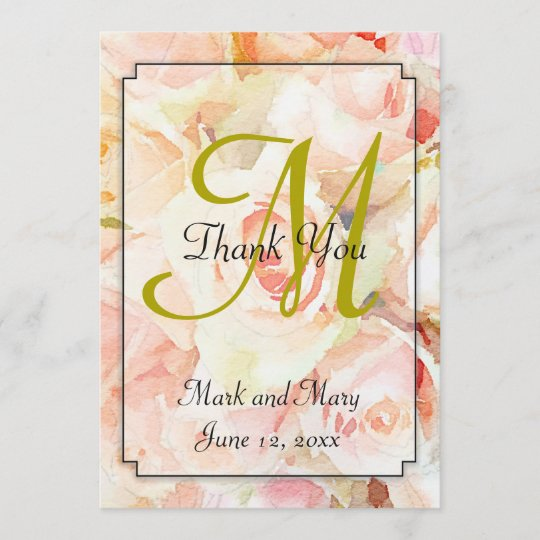 Watercolor Peach Roses Thank You Note Zazzle Com