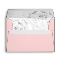 watercolor peach  succulent liner wedding envelope