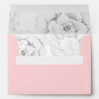 watercolor peach  succulent liner wedding envelope