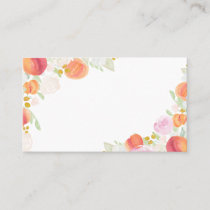 Watercolor Peaches and Flowers Flat Place Card