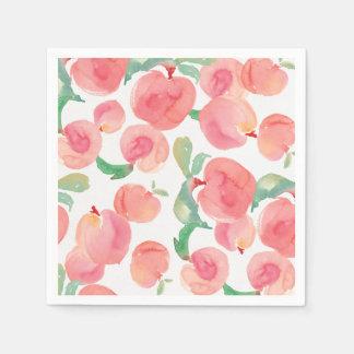 Watercolor Peaches Paper Napkin