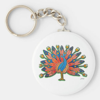 Watercolor Peacock Basic Round Button Keychain