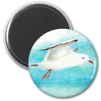 Watercolor Peacock Blue Seagull in the Rain Bird Magnet