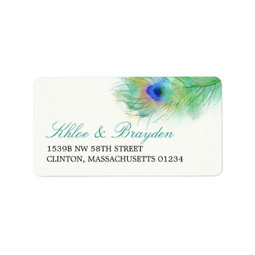 Watercolor Peacock Feather Address Custom Address Label