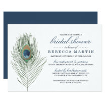 Watercolor Peacock Feather Bridal Shower Card