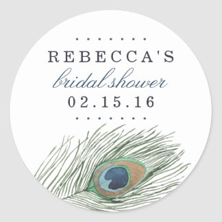 Watercolor Peacock Feather Bridal Shower Classic Round Sticker