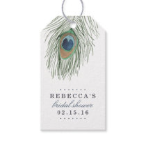 Watercolor Peacock Feather Bridal Shower Favor Gift Tags