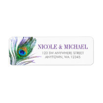 Watercolor Peacock Feather Label