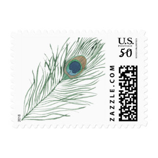 Watercolor Peacock Feather Postage
