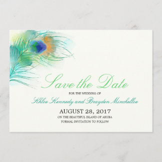 Watercolor Peacock Feather Save the Date