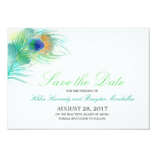 Watercolor Peacock Feather Save the Date Card