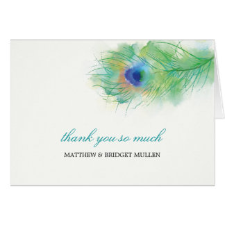 Watercolor Peacock Feather Thank You Stationery Note Card
