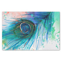 Watercolor Peacock Feather Tissue Paper