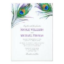 Watercolor Peacock Feather Wedding Card