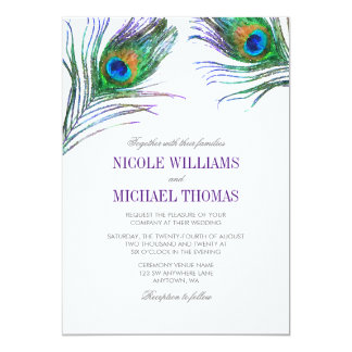 Watercolor Peacock Feather Wedding Invitation