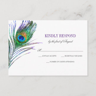Watercolor Peacock Feather Wedding RSVP
