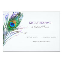 Watercolor Peacock Feather Wedding RSVP Card