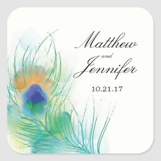 Watercolor Peacock Feather Wedding Square Sticker