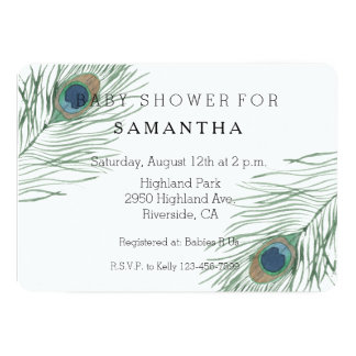 Watercolor Peacock Feathers baby shower Card