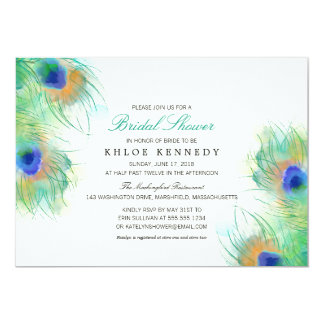 Watercolor Peacock Feathers   Bridal Shower Card