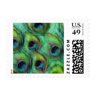 Watercolor Peacock Feathers Set 1114 Postage Stamp
