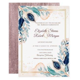 Peacock Watercolor Wedding Invitations