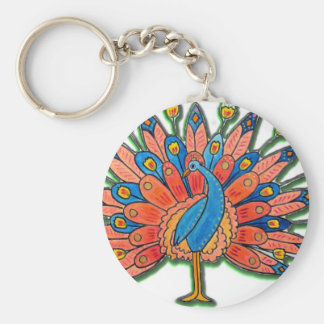Watercolor Peacock Keychain