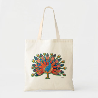 Watercolor Peacock Tote Bag